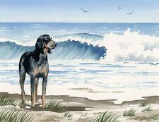 """Bluetick Coonhound at the Beach"" Watercolor Dog Art Print by Artist Djr"