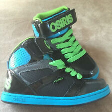 Osiris Boys / Girls Blue Black Green High Top Skater Shoes Size 6 New