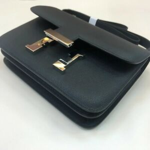 HERMES Black Veil Swift Leather CONSTANCE Mini Bag