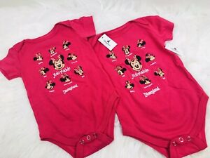 NEW MINNIE MOUSE DISNEY PINK ADORABLE FACES 2 PC LOT BABY ONE PIECE 12M