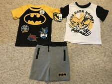 Batman the Dark Night Boys Short Sleeve Shirt's and Shorts 3 Piece Set 4T