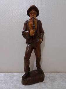 Holz Figur Mann mit Pfeife - Vintage-Stil - Handgefertigt Schnitzerei - 51 cm