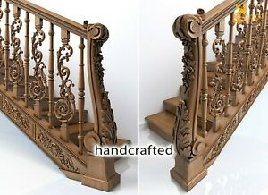Architectural Stair Newel Post for interior (Set of 2) hand carved wood