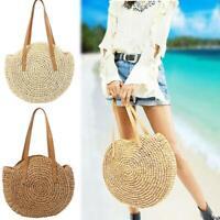 Women Beach Straw Woven Bags Rattan Basket Shoulder Bag Round Handbag Fashion