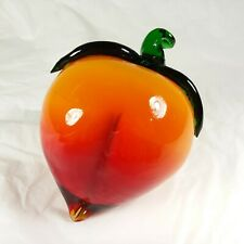 Glass Peach Fruit Decor Piece Paper Weight