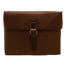 ASHWOOD - BROWN BANK MESSENGER/SATCHEL BAG IN BUFF GRAIN LEATHER