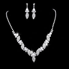 White Pearls Leaves Flowers Silver Necklace Earrings Set Costume Jewellery