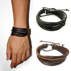 Mens Handmade Leather Braided Surfer Wristband Bracelet Bangle Wrap CLEARANCE