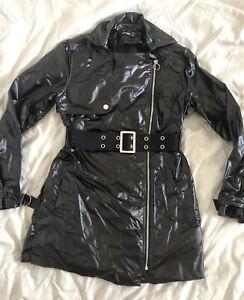 Disturbia Clothing Black Patent Shiny Vinyl PVC Rain Mac Jacket UK 12 Goth