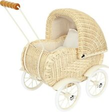 """Doll's Pram """"Elisabeth""""  Vintage look Woven Wicker Carriage Buggy with Bedding"""
