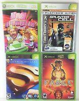 Lot of 4 XBOX Video Games - Fable, Splinter Cell Pandora, Big Bumpin, Superman
