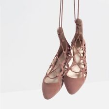 a077561f881b NIB Zara Pink Suede Leather Cut Out Lace Up Ballerina Ballet Flats Sz 6.5  Eur 37