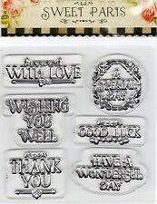 DOVECRAFT, SENTIMENTS CLEAR STAMP SHEET for CARD MAKING AND SCRAP BOOKING, NEW
