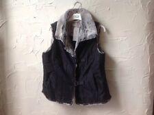 👀**NEW ** 👀NEXT Women's UK14 Black/Grey Imitation  Faux Fur Waistcoat  (EU 42)