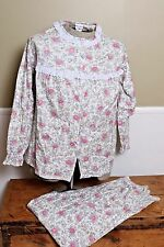 Vintage Flannel Pajama Set Floral Lace Trim Helen of Troy Size 38 L NEW USA