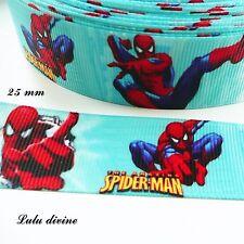 Ruban gros grain bleu Spiderman de  25 mm vendu au mètre