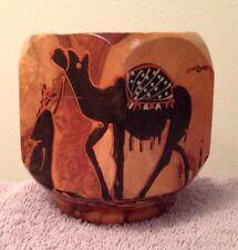 Handmade Painted Wood Coaster Holder, Camel, Desert, Sand, Oasis, Lacquered