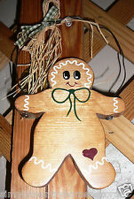 "Gingerbread Ornament~Wood~Large~Hand painted~Handcrafted~9"" By 5&1/2"""