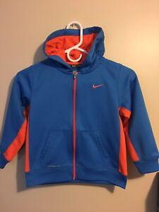 NICE Used Nike Therma-Fit Size 7 Kids Sweatshirt Boys Hoodie Blue Orange Hoody