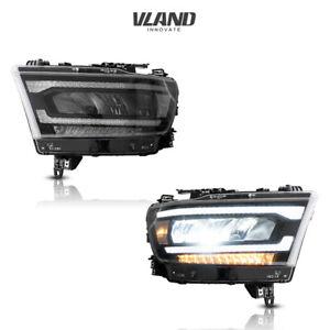 VLAND Full LED Headlights Fits For Dodge Ram 1500 2019-2021 LH+RH Projector