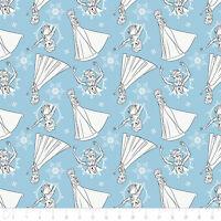 Disney Frozen Sisters Elsa Sketch Lt Blue Camelot 100% Cotton fabric by the yard