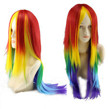 Women Fashion Full Straight Wigs Cosplay Anime Costume Party Rainbow Long Hair