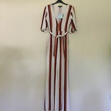Missguided Size 10 Ladies Striped Plunge Neck Jumpsuit BNWT