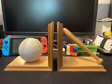 Kid's Sports Baseball & Bat Book Ends Wooden Louisville Slugger Softball
