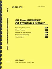 Sony ICF-SW07 World Band Shortwave Receiver OWNER'S MANUAL and SERVICE MANUAL
