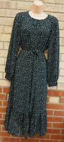 PRINCIPLES BLACK GREEN LEAVES LONG SLEEVE SMOCK A LINE BELTED MIDI LONG DRESS 14
