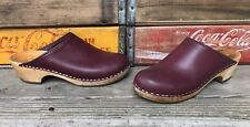 Vintage MIA Anatomisk Botten Cognac Leather Swedish Wooden Clogs Size 39 US 8.5