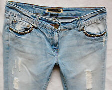 River Island Ladies Jeans Size 14 R straight crop Studs Follow your dream 34/23