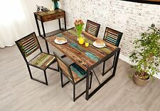 Urban Chic reclaimed wood indian furniture dining table and four chairs set