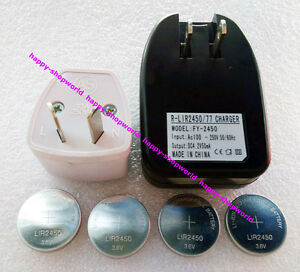 1x US Charger + 4x LIR2450 Rechargeable Button Coin Battery + 1x AU Plug Adapter