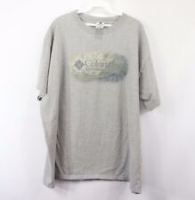 Vtg 90s Columbia Mens 2XL Streetwear Spell Out Short Sleeve T Shirt Heather Gray