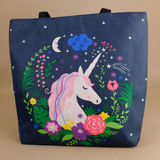 Unicorn Blue Tote Bag Beach Reusable Shopping Nappy Picnic Stars Moon Flowers