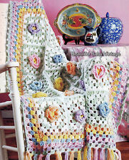 5 CROCHET PATTERNS Vintage Rugs Afghan Bed Throws Shawls Rosettes Flowers COPY