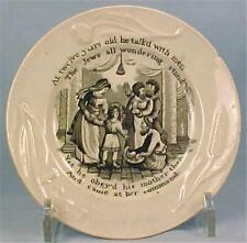 Rare Antique Young Jesus Transferware Childs Plate Soft Paste