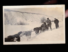 Dog Sledding Unused RPPC postcard (1920s) Made in Canada