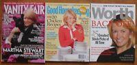 MARTHA STEWART on 2003 WORTH, 2005 VANITY FAIR & 2007 GOOD HOUSEKEEPING Mags