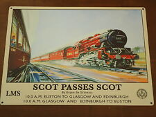 Steam Train Picture Plaque Scot Passes Scot LMS Metal Sign Georgian City Railway