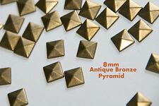 100 Pcs 8mm Bronze Flat Back Pyramid Studs Glue Hotfix Iron On - Addt SHIP FREE