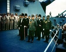 Color Photo Japanese Surrender USS Missouri  WWII WW2 World War Two Tokyo Bay