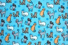"""KITTY CAT FRIENDS ON BLUE CAT FLANNEL 100% COTTON MATERIAL 2 YARDS 42 X 72"""""""