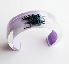 Gorgeous lilac lucite cuff bracelet with real bug by Kolos Designs