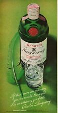 1972 Tanqueray English Gin Bottle Green Feather Shot Glass Vintage Print Ad