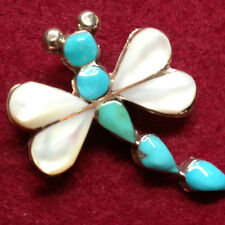 Silver Shell and Turquoise Handmade Dragonfly Pendant & Brooch by Angus Ahiyte