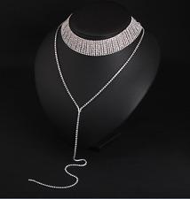 10 Row Crystal Simulated Diamante Necklace Choker Collar Rhinestone Chocker