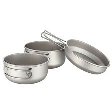 Keith Titanium 3-Piece Pot and Pan Camping Hiking Cookware Set Bowl Ti6053