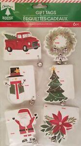 Christmas Self Adhesive Gift Tags w Silver Jingle Bells 6/Pk, Select: Theme